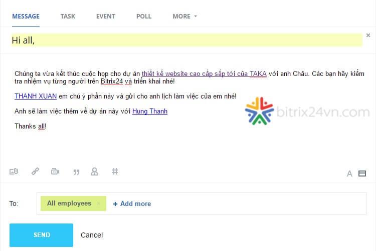 mạng xã hội nội bộ Bitrix24