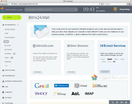 đồng bộ email với bitrix24