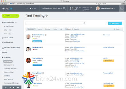 hệ thống quản lý nhân sự trên Bitrix24