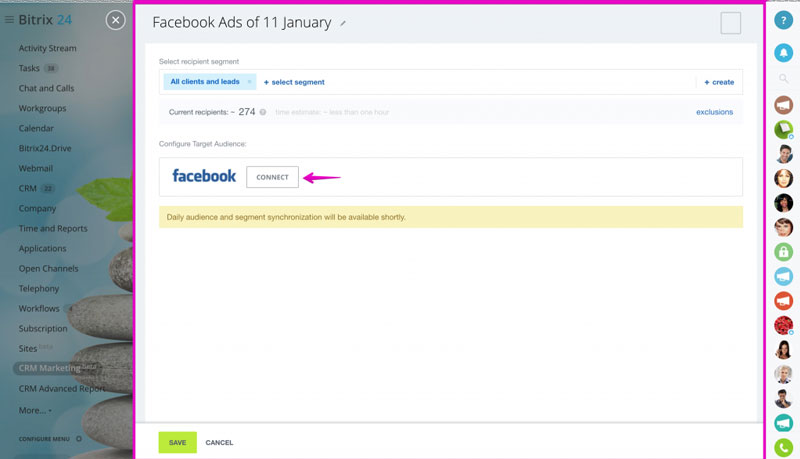 CRM marketing facebook