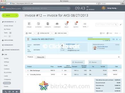 lập hoá đơn trên crm bitrix24