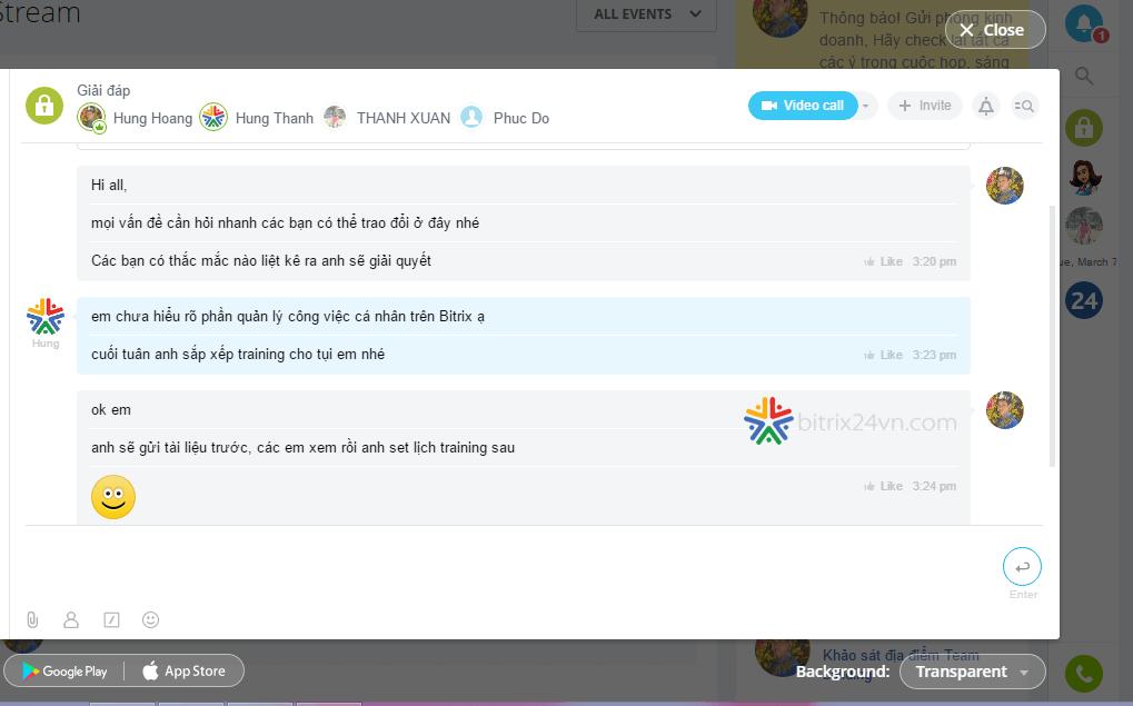 trò chuyện nhóm trên bitrix24