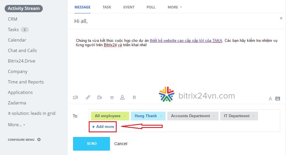 gửi thông báo trên bitrix24