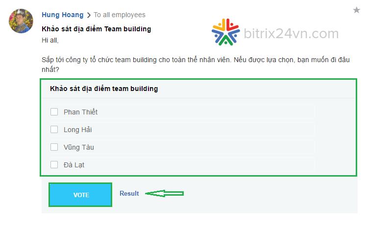 tạo khảo sát trên Bitrix24