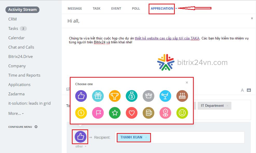 khen thưởng nhân viên trên bitrix24