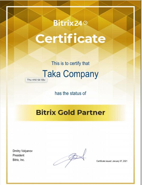 Chứng nhận Gold Partner Bitrix24 của Taka
