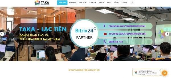 Hình ảnh website của công ty TNHH Taka