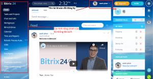 Màn hình chính sau khi bạn đăng nhập vào hệ thống Bitrix24 thành công.