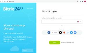 Màn hình đăng nhập trên hệ thống quản lý Bitrix24.