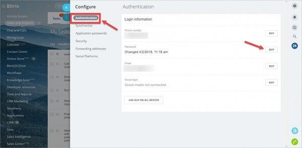 Cách đổi mật khẩu Bitrix24 qua My Profile (hồ sơ cá nhân)