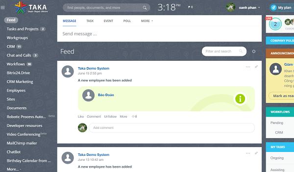 Giao diện hiển thị phần mềm Bitrix 24 ở tầng nội bộ