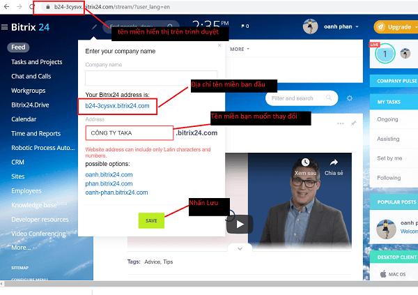 Hướng dẫn thao tác để bạn thay đổi tên miền của hệ thống Bitrix24.