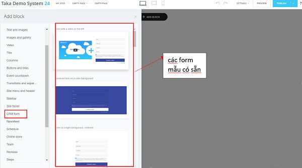 Cách tạo biểu mẫu trên Landing page Bitrix24.