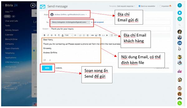 Các bước để gửi email trên Bitrix24 CRM