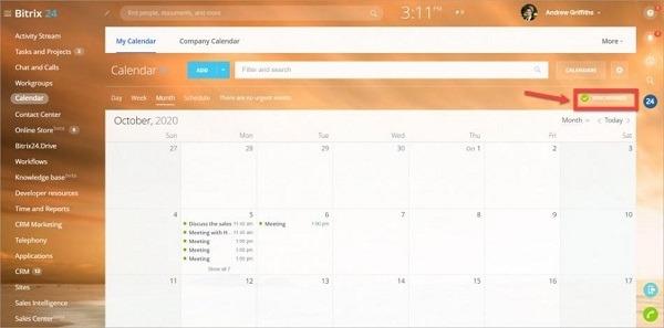 Bước 1 chọn Calendar xong click vào Synchronize