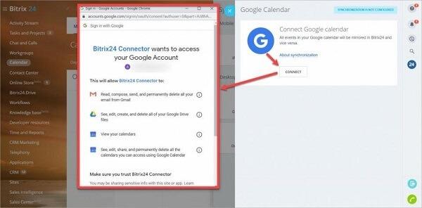 cCick vào Connect và chọn tài khoản google của bạn muốn tích hợp