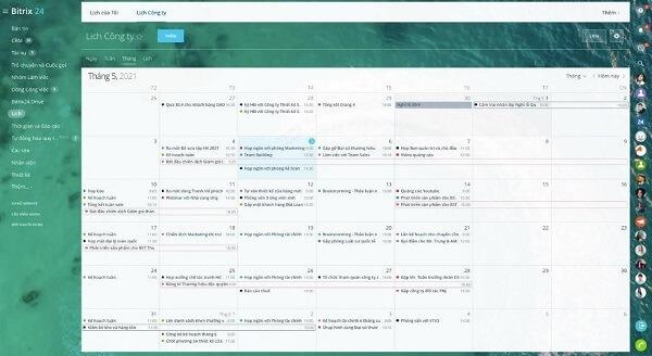 Có thể sử dụng Bitrix24 để sắp xếp lịch công việc cá nhân, nhóm hay công ty