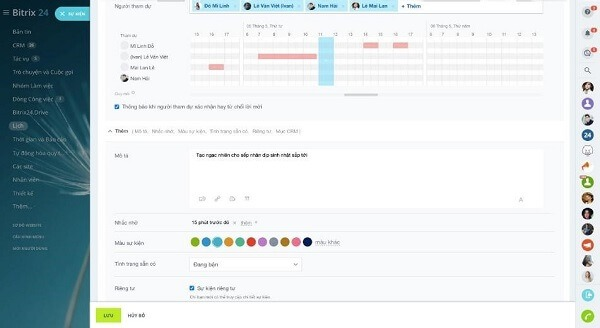 Bitrix24 Google Calendar, giúp người dùng tạo ra sự kiện với quy mô lớn.