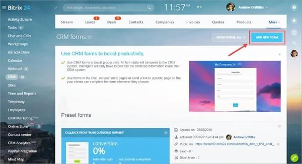 Giao diện màn hình để tạo CRM Form